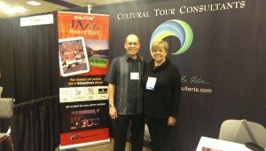 Buzz Jones and Cathy at the Cultural Tour Consultants booth